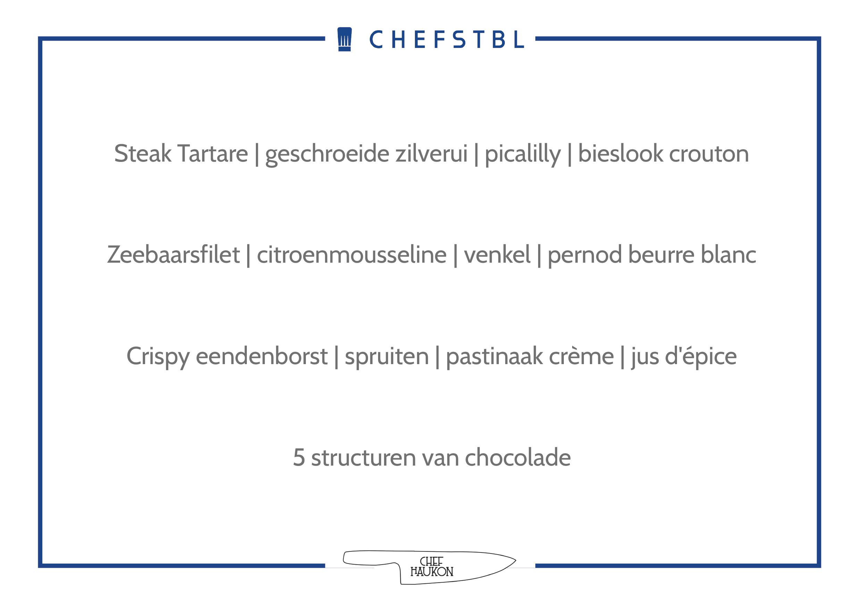 Voorbeeldmenu CHEFSTBL Chef Haukon