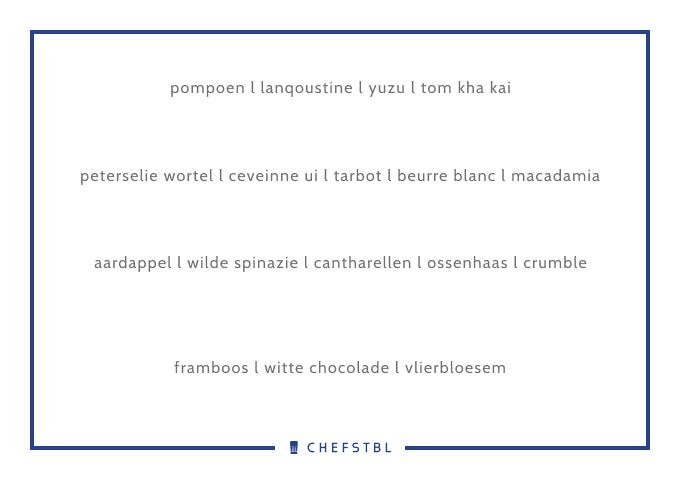 Voorbeeldmenu CHEFSTBL La table du chef